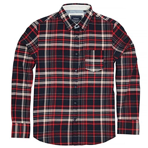 Brave Soul bs159 Tame – Lange Ärmel Check Shirt Gr. Large, Navy/Red/Denim Blue (Fischgrät-hemd-kleid)