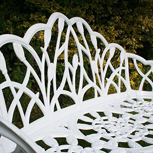 Gartenbank für 2 Personen – Tulpen-Design – Aluguss – Weiß - 3