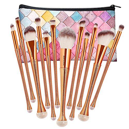 NEEDOON 12 Stücke Makeup Pinsel Set Eyeliner Kosmetik Augenpinsel Lidschatten Gesichtspinsel Blush Augenbraue Pinsel mit Kosmetik Tasche,B