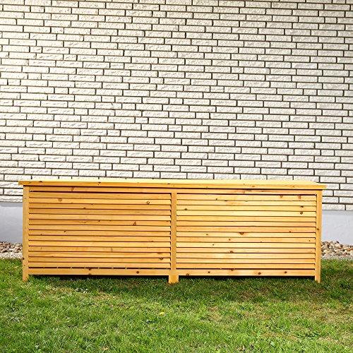 2in1 Holz Bank Auflagenbox Kissenbox Gartenbank Gartenmöbel Truhe Holztruhe - 2