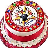 Cannellio Cakes Tenpin Bowling Happy Birthday Kuchendekoration, vorgeschnitten, essbar, 19 cm, Rot