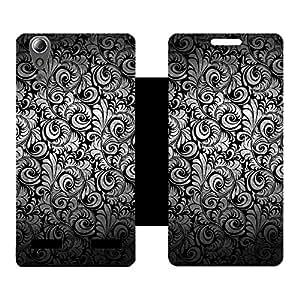 Skintice Designer Flip Cover with hi-res printed Vinyl sticker wrap-around for Lenovo A6000