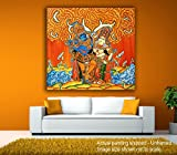 #5: JunkYard Canvas Painting - Radha Krishna - Under The Orange Sky - Kerala Mural Canvas Art