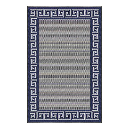 Korhani Outdoorteppich Tompson Gartenteppich 200x265cm Beige/Blau 100% Polypropylen (UV-behandelt) Balkonteppich Terrassenteppich