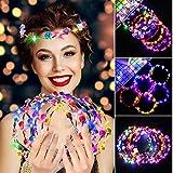 Fascigirl Ghirlanda Fiori LED,7 Pezzi LED Fiori per Capelli Fascia Capelli Donna Accessori per Capelli Fermaglio per Capelli Festa di Nozze Compleanno e Vacanze Donna e Ragazza