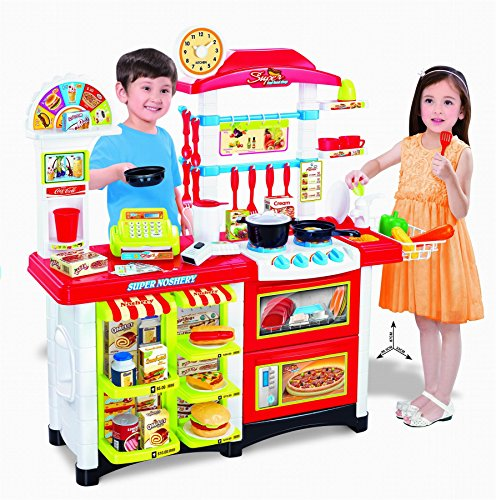 Vinsani 38 Pcs Children Kids Electronic Lights & Sounds Pretend Play Kitchen Cooking Set