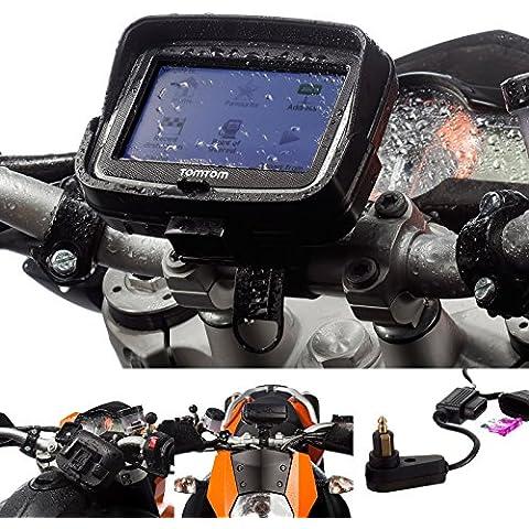 UltimateAddons–Motocicleta Bloqueo de Helix Correa 21–40mm Soporte de Bicicleta con 2Amp Fast Charge Tipo Hella Kit de Cargador para TomTom Rider