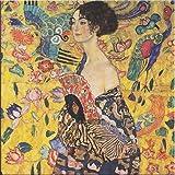 Time4art Gustav Klimt Print Canvas Bild DAME Frau mit Fächer Lady with fan auf Keilrahmen Leinwand verschiedene Größen (80x80cm)