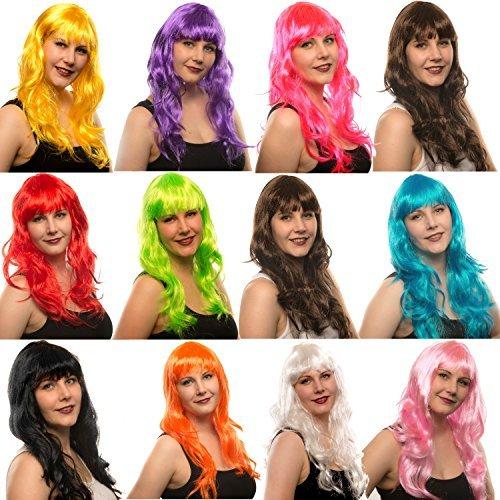 Langhaar Perücke Damen Lockenperücke gewellt lockig für Karneval und Fasching (Langhaar blond)