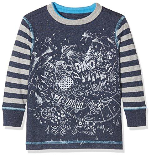 Hatley Jungen Langarmshirt Long Sleeve Graphic Tee, Blue (Dinos Versus Aliens), 5 Jahre (Alien-tee)