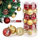 himaly 24 Pezzi Palla di Natale Ornamenti Palla di Decorazione Natalizie Albero e Matrimonio Dipinti a Colori e Motivi Rosso e Oro (6cm) (1)