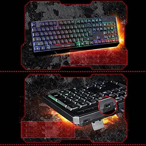 Gocheer Beleuchtet Bunt Tastatur 104 QWERTY USB RGB Gaming Tastatur Hintergrundbeleuchtung LED Regenbogen Wasserdicht Ergonomisch Tastatur für Computer PC Laptop Dell Mac Notebook Lenovo HP - 7