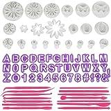 Anpro Fondant Ausstecher 76 tlg, 40 Buchstaben Ausstechformen, 22 Ausstechformen Auswerfer Stempel Tortendeko mit 14 Marzipan Messer