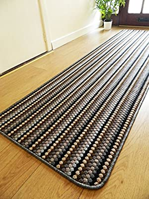 New Lead Grey Colour Modern Washable Non Slip Kitchen Utility Hall Long Runner Door Mat Rug (5 Sizes Available) - low-cost UK light shop.
