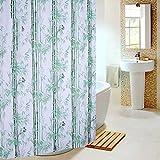 YY Duschvorhänge Grüner Bambus wasserdicht Mehltau PEVA Badezimmer Duschvorhänge Metallöse dicker Senden Haken Badezimmer Zubehör (Größe: 180*180 cm).