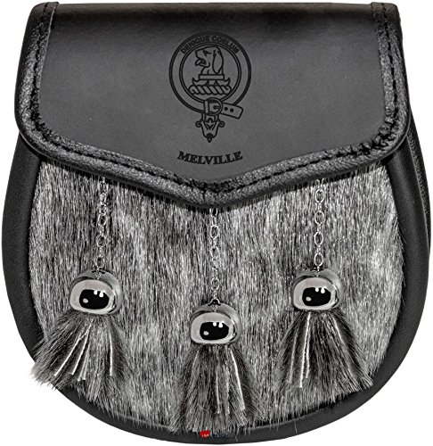<span class='b_prefix'></span> Melville Semi Dress Sporran Fur Plain Leather Flap Scottish Clan Crest