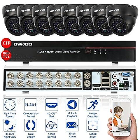 OWSOO 16CH Kanal 800TVL CCTV Überwachung DVR Security System HDMI P2P Cloud Network Digital Video Recorder + 8 * Indoor Infrarot-Dome-Kamera + 8 * 60ft Kabel