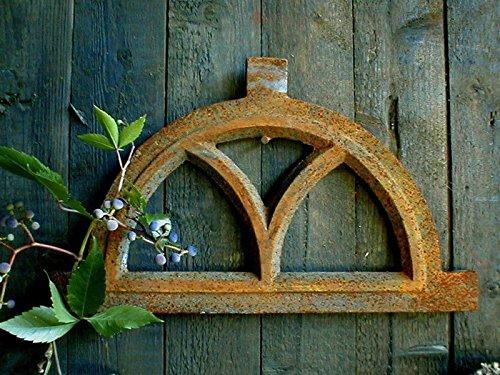 Antikas - Eisenfenster, Fenster für Gartenmauer, ländlich, wie antik, halbrund klein 32 x 20