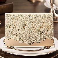 50X Wishmade orizzontale Laser Taglio Oro Nozze Inviti Carte Kit Con Cava In Rilievo Flora Oro Perle Di Carta Cartoncino Favori CW072