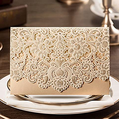 Wishmade 50X Laser Horizontal Coupe Or Invitations De Mariage Cartes