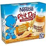 Nestlé Bébé P'tit Dej Saveur Biscuit Vanille - Brique Lait & Céréales dès 12 Mois - 2 Briques de 250ml - Lot de 4