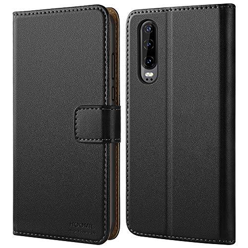 HOOMIL Handyhülle für Huawei P30 Hülle, Premium Leder Flip Schutzhülle für Huawei P30 Tasche, Schwarz