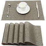 PVC Table Mats/Place Mats/Drawer Mats/Fridge Mats/Multipurpose Mats/Refrigerator Mats/Dinner Mats/Dinning Mats/Kitchen Place Mats, 30x45cm, 6 Piece Set-(Mettalic Silvergold)