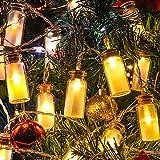 Neu - 8 Modi Vintage Glas 20er LED-Lichterketten LED Outdoor Lichterkette Weihnachtsbeleuchtung,Warmweißen -- Wasserdicht Batteriefach