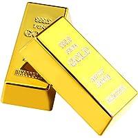 PRETYZOOM Lot de 3 fausses lingots d'or répliques de lingot d'or - Briques dorées - Décoration réaliste - Cadeau…