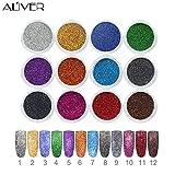 Aliver 12 Colore Polveri glitter per unghie nail art