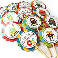 Robot Cupcake Toppers - Children Boy Girl Birthday Baby Shower Party Supplies - Set of 12