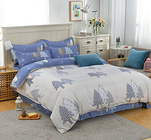 KFZ Bett Set (Zwei Full Queen King Size) [4 Stück: Bettbezug, Bettlaken, 2 Kissenbezüge] keine Tröster KSN Young Lied Fresh Flower Tree Talking Triangle Flower Talking Fruit Cartoon Design für Jugendliche, Kinder, Erwachsene, Microfaser, Tree Talking,blue, Twin 59