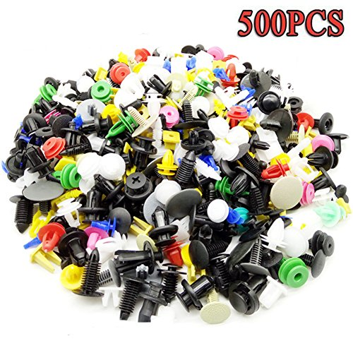 500Pcs Vehicle Clips Agrafe Plastique Rivets pare-chocs Clips Bouclier Garnissages Auto Universal Attache Mixte