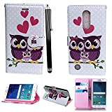 Mobile Stuff LG K4 2017 Hülle Kunstleder Tasche PU Schutzhülle Tasche Leder Brieftasche Hülle Case Cover + Stylus (Family Owl Book)