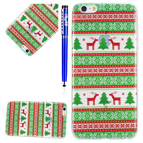 EUWLY Cover per iPhone 6 Plus/iPhone 6s Plus (5.5), EUWLY Custodia per iPhone 6 Plus/iPhone 6s Plus (5.5) Silicone Trasparente TPU Case Xmas Christmas Natale Flessibile Morbido Custodia Cover Ultra  Cervo Natale