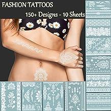 Premium White Lace Tattoos - 150+ Designs Temporary Fake Jewelry Tattoos - Bracelets, Feathers,Elephant,Wrist & Arm Bands Transfer Body Tattoos Sticker for Women
