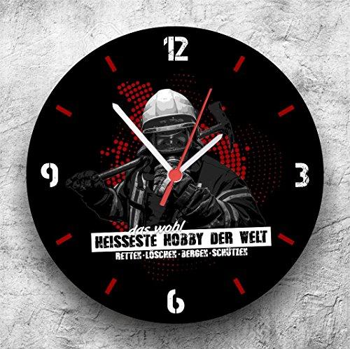 feuerwehr wanduhr Roter Hahn 112 Hochwertige Feuerwehr Wanduhr Uhr Heisses Hobby/25cm/Geräucharm