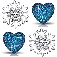 Set Mädchen Kinder Ohrringe aus 925 Sterling Silber mit Rundschliff Zirkonia Schneeflocke Edelstahl Herz