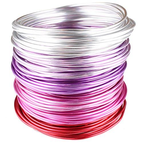 Creacraft 30 mètres fil aluminiumrouge doux pour perlage et bijoux: 6 bobines de 5m pour lart, lartisanat et floristique (différentes couleurs)