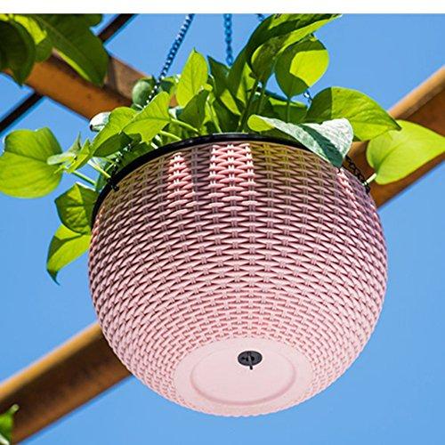 GYMAN Kunststoff Rund hängend Pflanzer Korb-Garten-Blumen-Anlagen-Aufhänger mit Abtropfgestell und Kette (mehrfarbig wahlweise freigestellt), pink