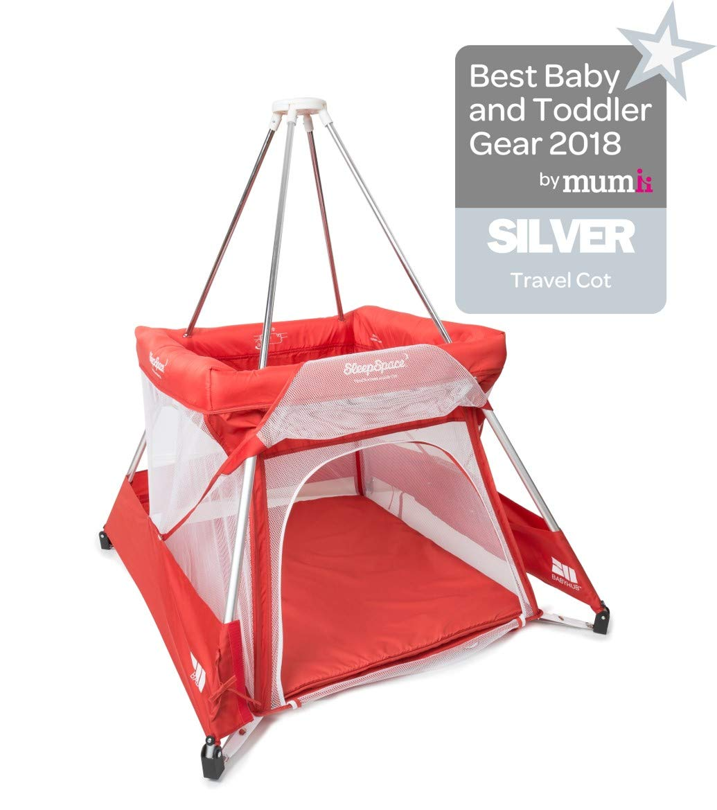 BabyHub SleepSpace Travel Cot with Mosquito Net, Red BabyHub Three cots in one; use as a travel cot, mosquito proof space and reuse as a play tepee Includes extra mosquito net cover that can be securely in place Can be set up and moved even while holding a baby 1