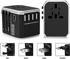 Colleer Adattatore da Viaggio Universale Caricatore All-in-One per EU UK US AU Travel Adapter con 4 USB Porte + Type C Caricatore Multifunzioni