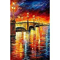 Van Eyck Bridge di notte paesaggio Colorful Palette Coltello Olio