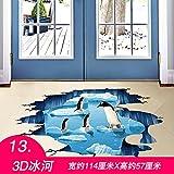 ALLDOLWEGE Wall Sticker Extra große 3D-Zeichnung Kinderzimmer Schlafzimmer Wohnzimmer Wand Aufkleber Abnehmbare wasserdichte Wand Poster Bad Kreativ, 3D-Gletscher