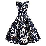 ishine Elegante Damen Kleid 50er Jahre Retro Hepburn Style Swing Kleid Ballkleid V-Ausschnitt ärmellos Printed Rockabilly Vintage Tailliert Abendkleid Cocktailkleid