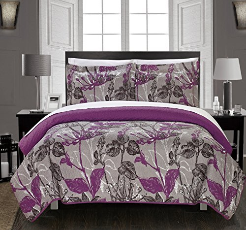 Chic Home 3 Piece Botanic Garden Abstract Floral Printed Quilt Set with 2 Shams, Queen, Grey by Chic Home -