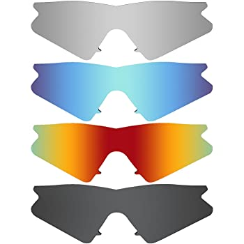 MRY 4 Pares polarizadas Lentes de Repuesto para Oakley M2 Frame Sunglasses-Stealth Negro/Fuego Rojo/Hielo Azul/Plata Titanio