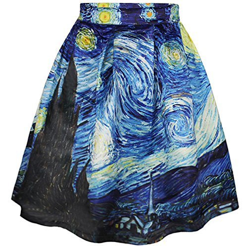 Gonna elastica a campana con stampe artistiche casual (s/m, starry night)