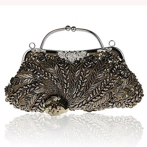 Nuova borsa borsa sacchetto del vestito bag borsa banchetto diamante cheongsam sera della mano borsa borsa sposa moda di perline ( Colore : Silver ) Mineral Green