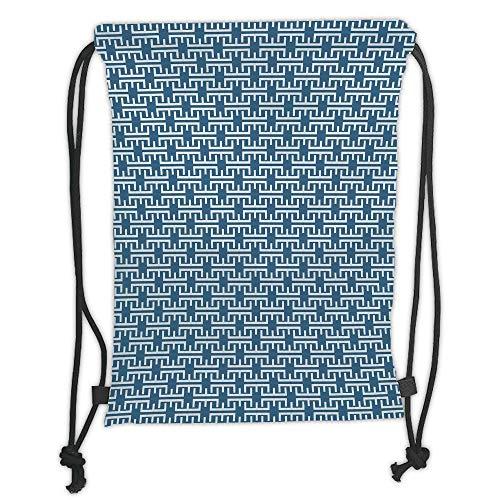 LULUZXOA Gym Bag Printed Drawstring Sack Backpacks Bags,Kids,Cute Little Pastel Heart Shapes in Bold White Spots Girls Boys Nursery Playroom,Light Blue White Soft Satinr